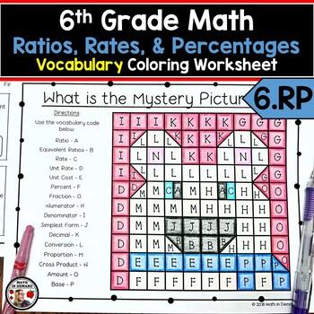 6th Grade Math Ratios, Rates, & Percentages Vocabulary Coloring Worksheet