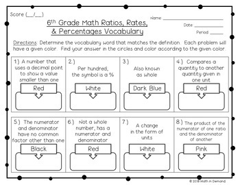 6th Grade Math Ratios, Rates, & Percentages Vocabulary Coloring Worksheet