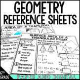 6th Grade Math Reference Sheets Geometry - Distance Learning