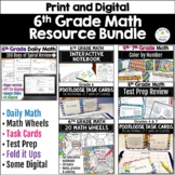 6th Grade Math: Warm-Ups, Task Cards, Problem Solving, Color by Number