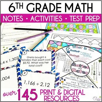 6th Grade Math: Warm-Ups, Task Cards, Problem Solving, Col
