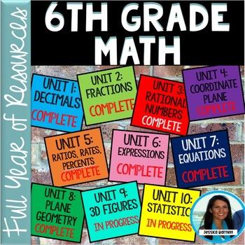 6th Grade Math FULL YEAR Resources Bundle (GROWING)