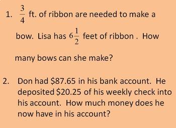 6th Grade Math Review Bingo Game