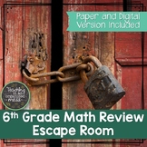 6th Grade Math Review Escape Room--Digital and Paper Versions