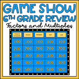 6th Grade Math Review Game Show EDITABLE Factors and Multiples Activity