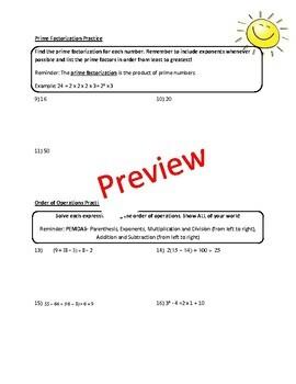 6th Grade Math Review Packet & Key