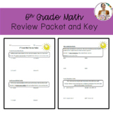 6th Grade Math Review Packet & Key