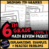 6th Grade Math Review Packet Level 1 - Back to School Math