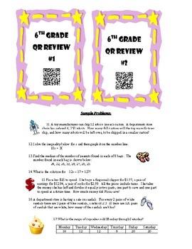 6th Grade Math Review - QR Codes - Beginning of 7th Grade Year