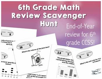 6th Grade Math Review Scavenger Hunt