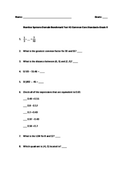 6th Grade Math SBAC Benchmark Test-Number Systems Domain
