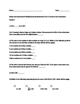 6th Grade Math Test-Prep:(SBAC, PARCC, TCAP): Ratios and Proportions  Assessment