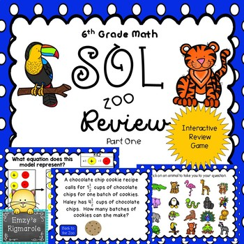 6th Grade Math SOL (2016 standards) Review Game- Part 1