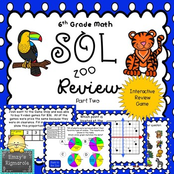 6th Grade Math SOL Review Game- Part 2