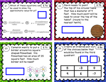 6th Grade Math SOL Review Task Cards