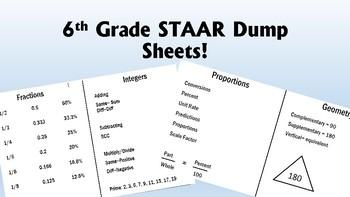 6th Grade Math STAAR Brain Dump Sheets