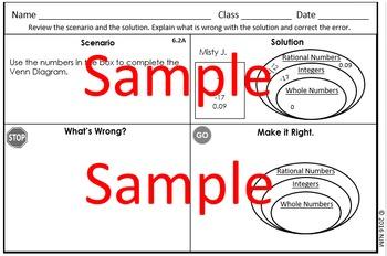 6th Grade Math TEKS Error Analysis
