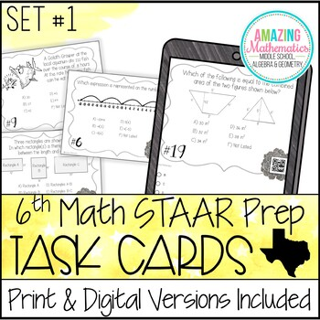 6th Grade Math STAAR Review & Prep - Task Cards