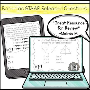 6th Grade Math STAAR Review & Prep - Task Cards (Set #1)