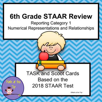 6th Grade Math STAAR Reporting Category 1 Task/Scoot Cards - 2018 STAAR
