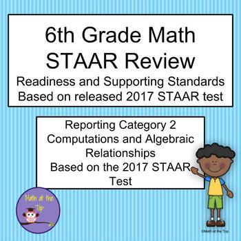6th Grade Math STAAR Reporting Category 2 Task/Scoot Cards - 2017 STAAR