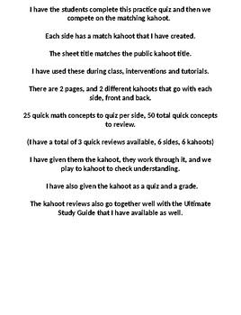 6th Grade Math STAAR Review – Kahoot 1