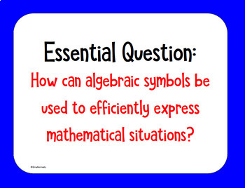 6th Grade Math STAAR Algebra: Posters, Task Cards, Essential Questions