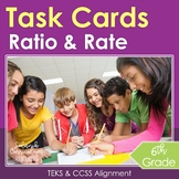 6th Grade Math Task Cards Ratios and Rates TEKS-STAAR & Common Core Aligned