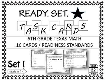 6th Grade Math STAAR Task Cards (Readiness TEKS)