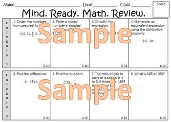 6th Grade Math TEKS One-Page Prep