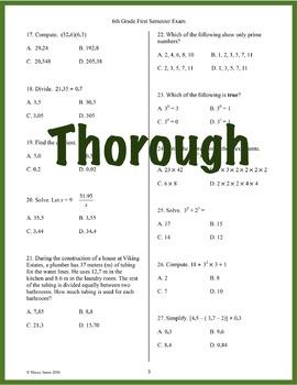 6th Grade Math Semester Exam