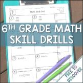 6th Grade Math Skill Drills