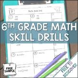 6th Grade Math Skill Drills {Free Sample}
