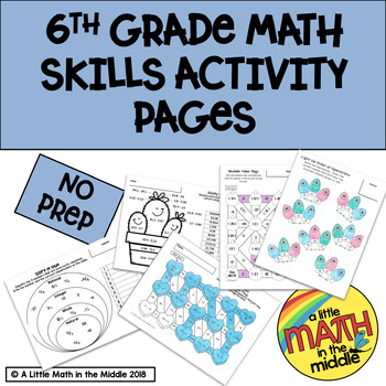 6th Grade Math Skills Activity and Coloring Pages