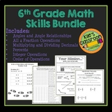 6th Grade Math Skills Bundle- Guided Notes and Activities