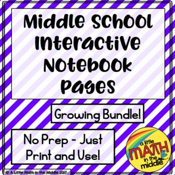 6th Grade Math Skills ISN Pages