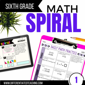 6th Grade  Math Spiral Review (CCSS-aligned) - First Semester
