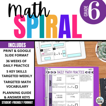6th Grade Math Spiral Review - GROWING BUNDLE of Math Warm-Ups aligned with CCSS