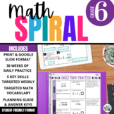 6th Grade Math Spiral Review: 36-weeks of Math Warm-Ups aligned to CCSS