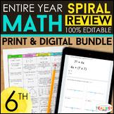 6th Grade Math Spiral Review & Quizzes | DIGITAL & PRINT |