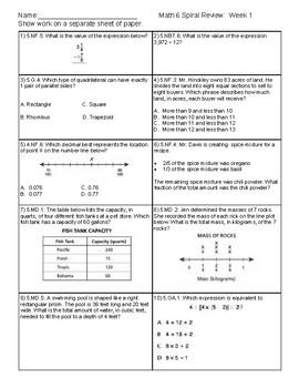 6th Grade Math Spiral Review Week 1: FREEBIE