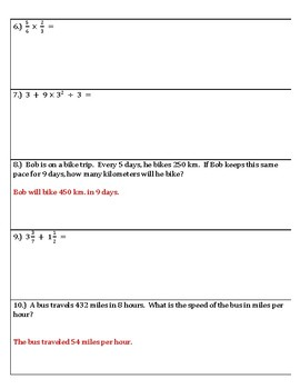 6th Grade Math Spiral Review for classwork and/or homework #'s 11-15