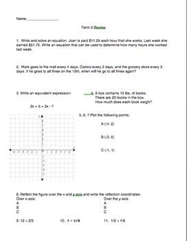 6th Grade Math Spiral Reviews