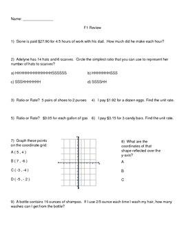 6th Grade Math Spiral Reviews Bundle F