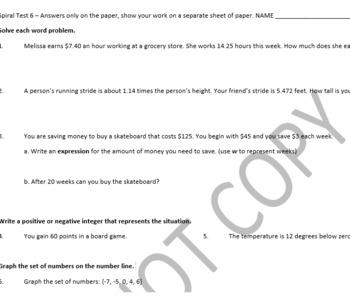 6th Grade Math Spiral Test 6