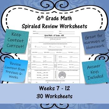 6th Grade Math Spiraled Review Worksheets - #31 - #60 - Weeks 7 - 12