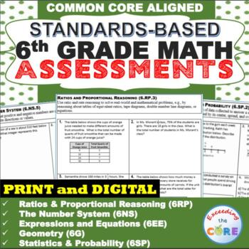 6th Grade Math Standards Based Assessments * All Standards * {Common Core}