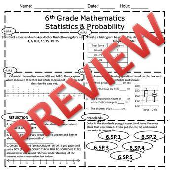 6th Grade Math Statistics & Probability Assessment/Exam/Test/Review {EDITABLE}