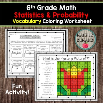 6th Grade Math Statistics & Probability Vocabulary Coloring Worksheet