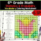 6th Grade Math Statistics & Probability Vocabulary Coloring Worksheet